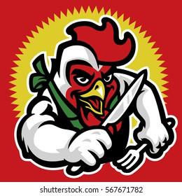 chicken cartoon character for restaurant