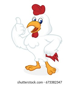 Chicken cartoon giving thumb up and smiling isolated in white background