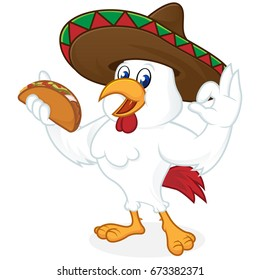 Chicken cartoon holding nacho and wearing sombrero isolated in white background