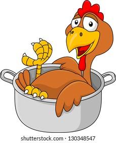 Chicken cartoon in the sauce pan