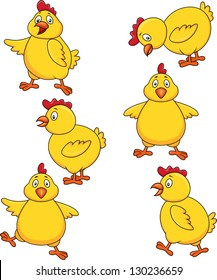 Chicken cartoon set