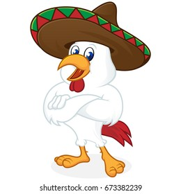 Chicken cartoon wearing sombrero and folding hands isolated in white background