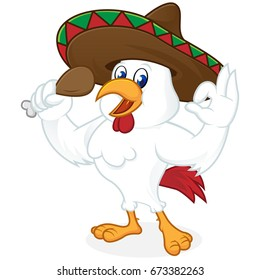 Chicken cartoon wearing sombrero and holding fried chicken isolated in white background