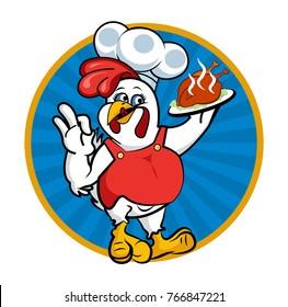 Chicken Chef Mascot for Restaurant Logo Vector Illustration