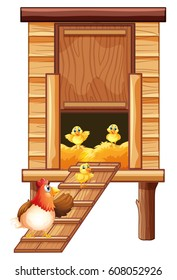 Chicken coop with hen and chicks illustration