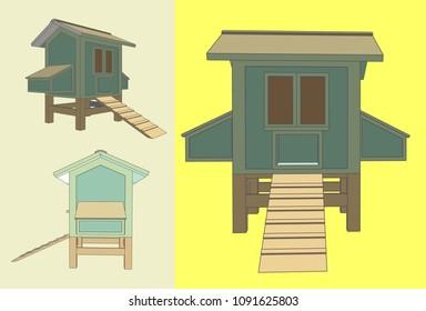 Chicken Coop Model, Vector & Illustration