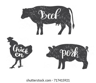 Chicken, Cow and Pig silhouettes with lettering text Beef, Chicken, Pork. Can be used for menu, butcher shop, restaurant