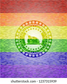 chicken dish icon inside emblem on mosaic background with the colors of the LGBT flag