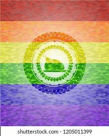 chicken dish icon inside lgbt colors emblem