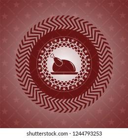 chicken dish icon inside retro red emblem