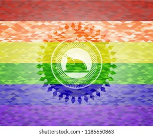 chicken dish icon on mosaic background with the colors of the LGBT flag