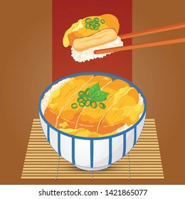 Chicken donburi (Katsudon) illustration on bamboo background vector.