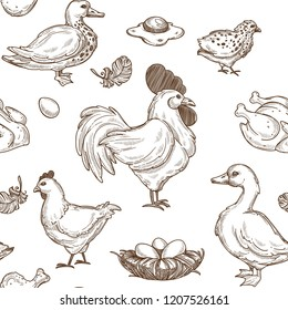 Chicken and ducks sketch pattern background. Vector seamless
