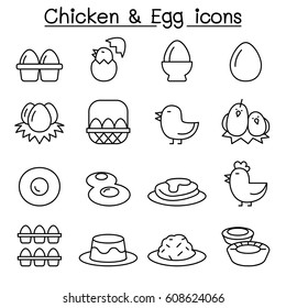 Chicken & Egg icon set in thin line style