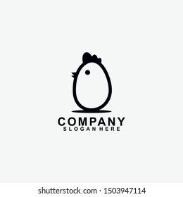 Chicken Of Egg Logo Design. Chicken Of Egg Logo Template. Modern Design. Flat Logo. Vector Illustration