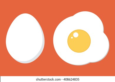 Chicken egg in shell and prepared, fried egg on bright orange background. Flat design breakfast illustration.
