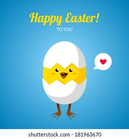 Chicken in egg shell. Vector illustration. Cute character. Happy Easter greeting card design. Place for your text message. Speech bubble with heart sign. Baby chick hatch out.