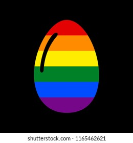 Chicken egg sign. Vector. Icon with colors of LGBT flag at black background.