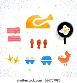 Chicken, eggs, bacon