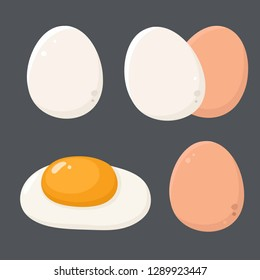 Chicken eggs food icon vector. White and brown Chicken egg in shell, fried egg, scrambled egg. Illustration of eggs in flat minimalism style.
