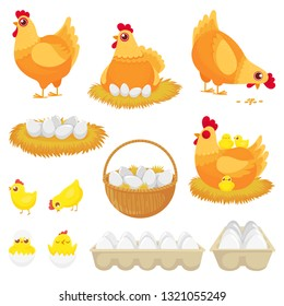 Chicken eggs. Hen farm egg, nest and tray of chickens eggs. Chick child, hens character easter mascot and egg box. Cartoon vector illustration isolated icons set