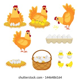 Chicken eggs. Hen farm egg, nest and tray of chickens eggs. Chick child, hens character easter mascot and egg box. Cartoon illustration isolated icons set