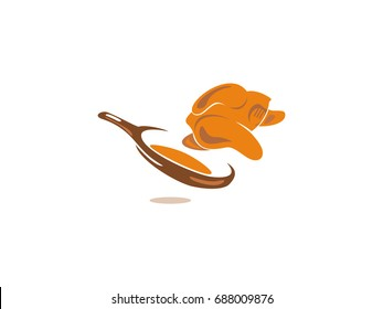 Chicken escape from pan. Modern catering logotype. Suitable For Infographics , Company Logo, Print, Digital, Icon, Apps, print T-Shirts and Other Marketing Material Purpose