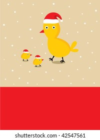 chicken family in christmas