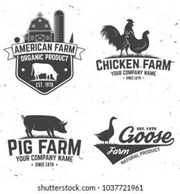 Chicken Farm Badge or Label. Vector illustration. Vintage typography design with chickens, cow and pig silhouette. Elements on the theme of the chicken, pork and milk farming business.
