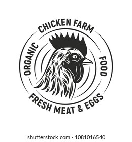 Chicken farm emblem. Logo with chicken head. Trendy retro-vintage emblem isolated on a white background. Vector illustration
