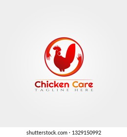 Chicken farm icon template, creative vector logo design, chicken care, animal husbandry, illustration element