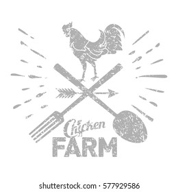 Chicken farm logo with a rooster and farmer's tools.
