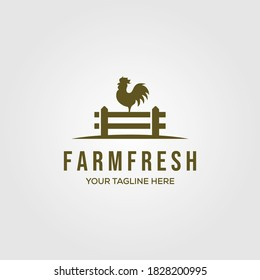 chicken farm logo vector illustration design, rooster on fence vintage logo design