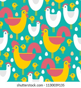 Chicken Farm pattern seamless. Chicken and rooster and chicken background. Children fabric texture. Vector illustration