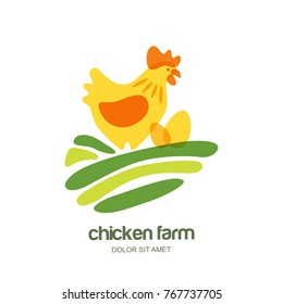 Chicken farm vector logo, label, emblem design template. Illustration of hen with eggs on green field. Concept for farming and organic food industry, agriculture, poultry business, packages.