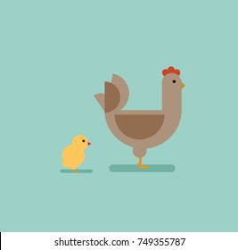 chicken in flat style vector illustration