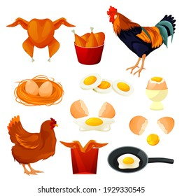 Chicken food and poultry products, farm meat and hen eggs in nest, vector flat icons. Poultry farm food production, fast food grill legs and roast wings, fried and boiled eggs, rooster and hen