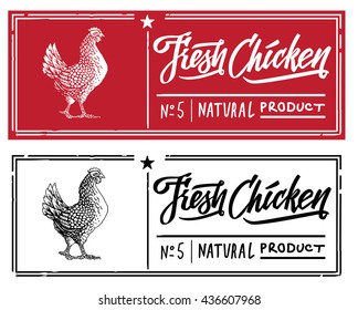 Chicken in the form of engraving on label stamp.