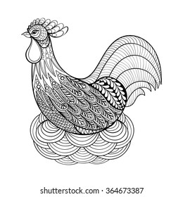 Chicken. Hand drawn Chicken in nest, adult coloring pages, artistic domestic farmer Bird Hen, zentangle style, patterned illustration, Chicken, Hen on white background. Vector monochrome bird sketch.