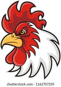 chicken head mascot, vector illustration