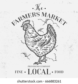 Chicken, hen bird, animal, farmers market banner. Hand drawn sketch in a graphic style. Vintage vector engraving illustration for poster, web. Isolated on white background