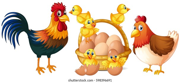 Chicken, hen, rooster and baby chicks in basket