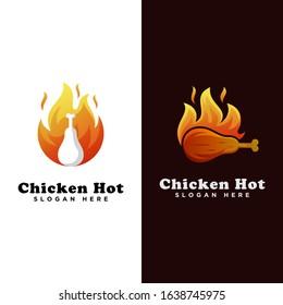 chicken hot food logo, grilled chicken logo, chicken roast logo template