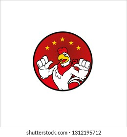 chicken hot logo, A chicken cartoon rooster cockerel character mascot giving a thumbs up. - Vector