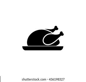 Chicken icon. chicken dish vector. chicken vector. chicken on plate vector.