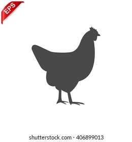 chicken icon, vector chicken silhouette, isolated chicken silhouette