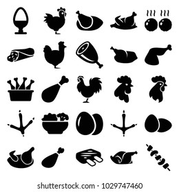 Chicken icons. set of 25 editable filled chicken icons such as egg, footprint of  icobird, rooster, wrap sandwich, kebab, meat leg, food