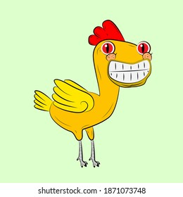 chicken laughing out loud, streetwear or t-shirt design