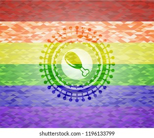 chicken leg icon inside emblem on mosaic background with the colors of the LGBT flag