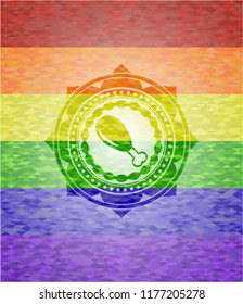 chicken leg icon inside lgbt colors emblem